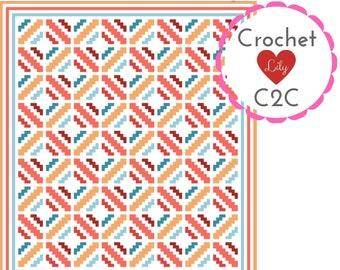 Coral Diamonds C2C Crochet Pattern Blanket Corner to corner | Etsy