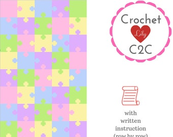 Puzzle C2C Crochet Pattern Blanket INSTANT DOWNLOAD | Etsy