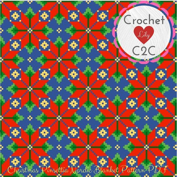 C2C crochet pattern - Christmas blanket - Poinsettia blanket - Crochet  pattern blanket - C2C pattern - C2C blanket - Christmas poinsettia