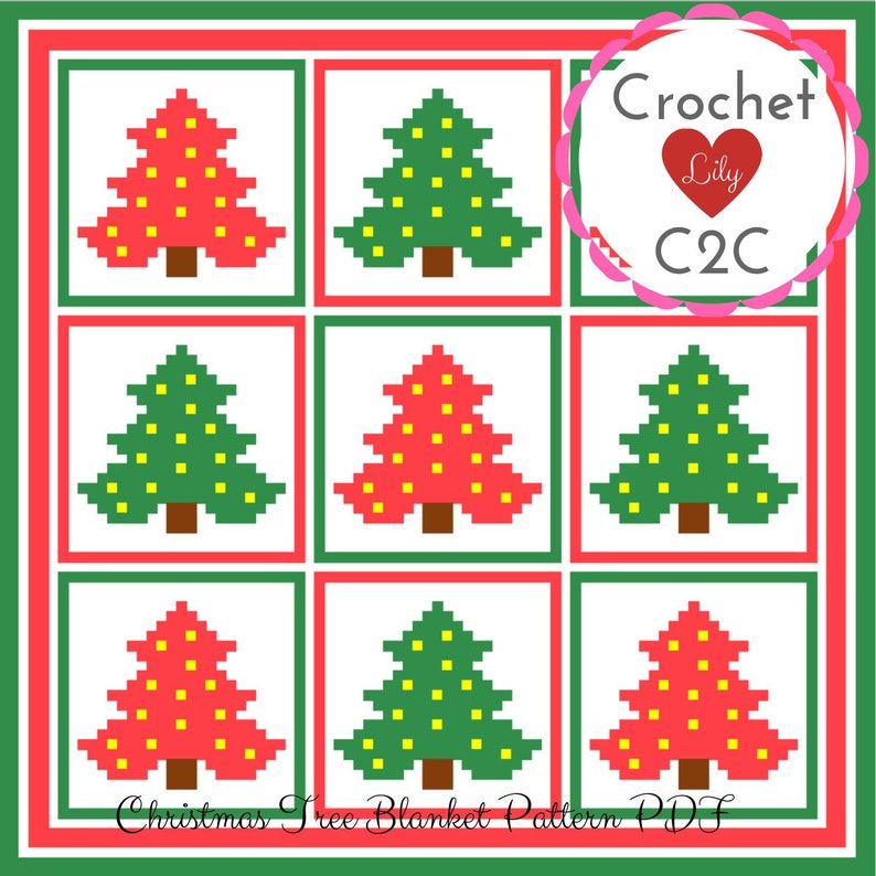 Christmas Blanket Christmas Tree C2c Crochet Pattern C2c Etsy
