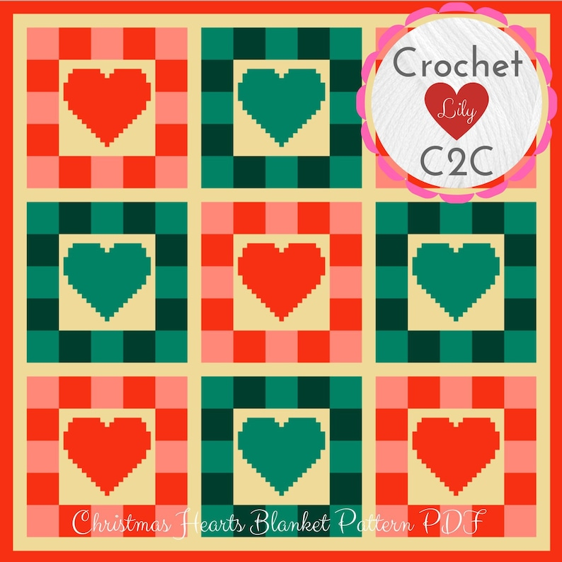 Christmas hearts - C2C Crochet Pattern Blanket - Crochet blanket - C2C  Pattern - C2C Afghan - Christmas pattern - Corner to Corner - C2C