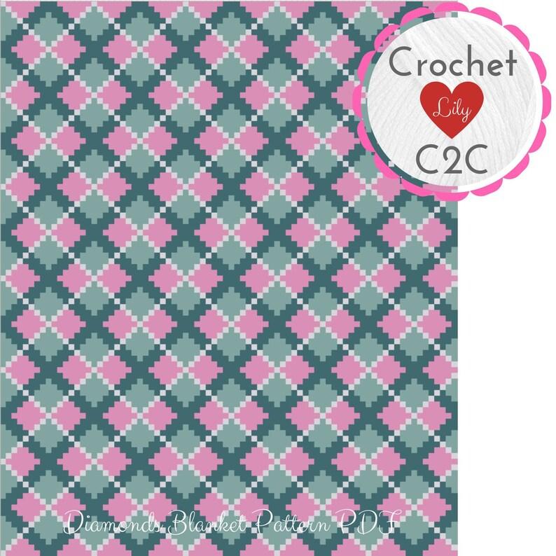 Diamonds blanket - C2C Crochet Pattern Blanket - Crochet Graph - Crochet  Pattern - Crochet blanket - C2C pattern - Corner to Corner - C2C