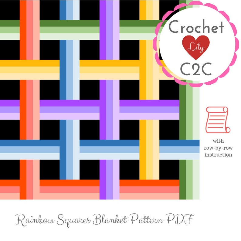 Rainbow Squares - C2C Crochet Pattern Blanket - С2С blanket - C2C pattern -  Written instruction - Row by row - C2C written - C2C afghan