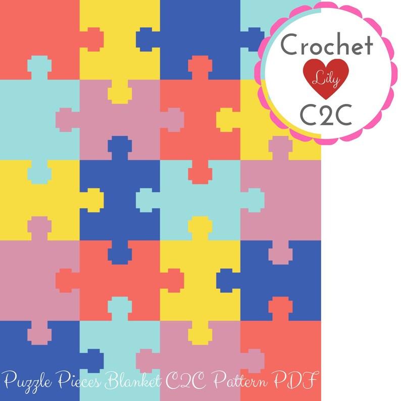 C2C crochet pattern - Puzzle pieces - Crochet blanket - Baby blanket - C2C  blanket - C2C pattern - Crochet pattern - living coral