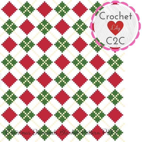 C2C Crochet Pattern Blanket - Christmas diamonds - C2C blanket - Crochet  Graph - Crochet Pattern - Blanket pattern - Corner to Corner - C2C