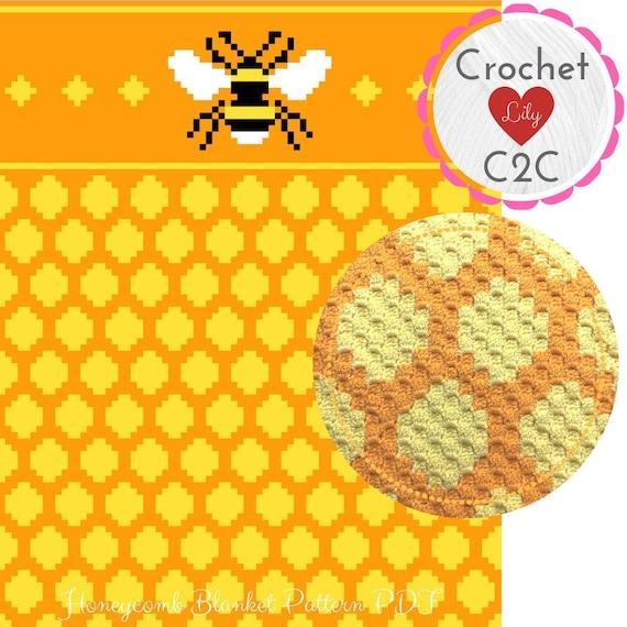 Honeycomb blanket - C2C Crochet Pattern Blanket - Honey crochet - Crochet  Graph - Crochet Pattern - Blanket - Corner to Corner - C2C pattern