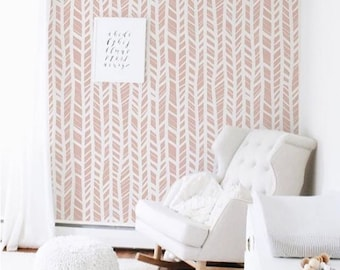 Pink Herringbone Removable Wallpaper Temporary Nursery Wall Girls Room Decor