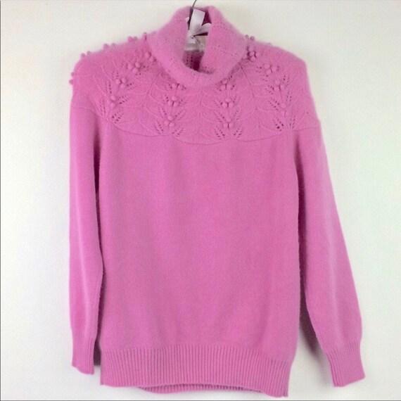 Pink PomPom Lace Eyelet Yoke Turtleneck Wool Knit
