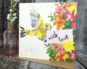 With Love Card, Thinking of You, With Sympathy, Get Well, Thank You, Greenfinch, Greetings Card, Blank