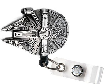 Spaceship Millenium Falcon Retractable ID Badge Reel,  Retractable ID Badge Reel - Doctor / Nurse / Teacher Badge Reel Badge Clips