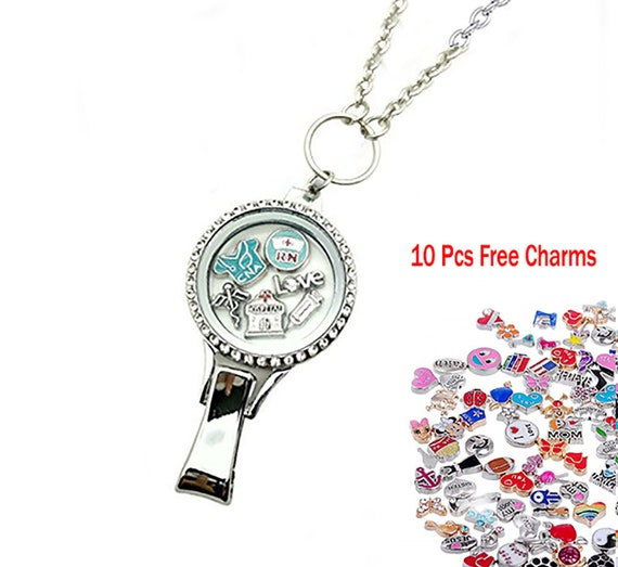 10pcs Floating Charms Crystal Badge Lanyard Glass Locket with Chain Necklace