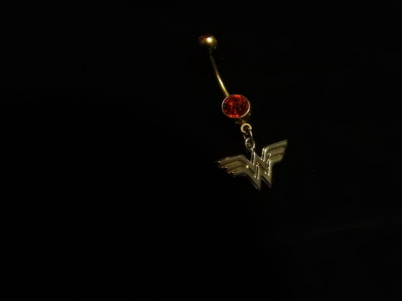 Gold Red Wonder Woman Belly Navel Ring Dc Comics Batman Vs Superman Body Jewelry Costume Accessory