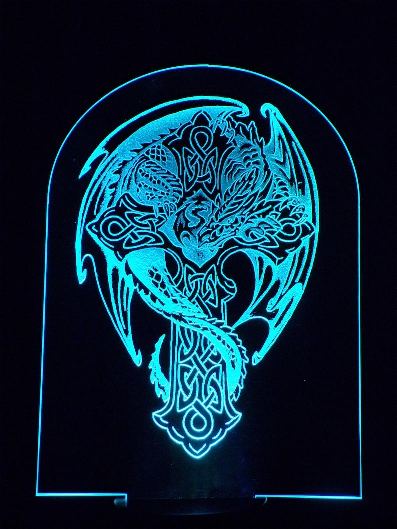Stunning Night Light Mood Light Relaxing Light  Dragon Wrapped around Celtic Cross.