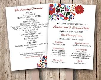 Mexican Wedding Program Fan, Personalized wedding fans, Colorful mexican fan programs, wedding fans, wedding program fans, Summer Wedding