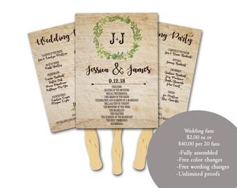 Personalized Wedding Fan Program,Rustic Wedding, Wedding program fans, Wedding favor fans, Greenery wedding, Favor fans, fans for wedding