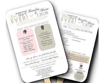 Best Day Ever Wedding Fan Program, Wedding fans, Wedding program fans, personalized wedding fans, ANY COLOR, info graphic