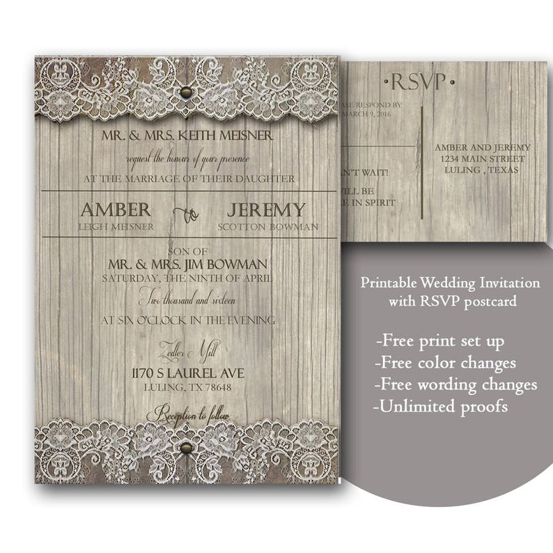 Rustic Wedding Invitation Template Lace Invitations Printable With RSVP Postcard Floral Invite