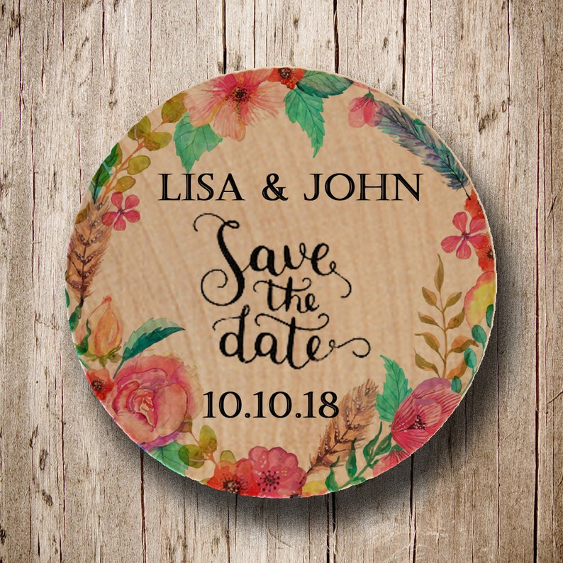 Round wood save the dates Save the date Rustic Wooden Save the Dates Custom Personalized Floral Wreath Wooden Save the Date Magnet