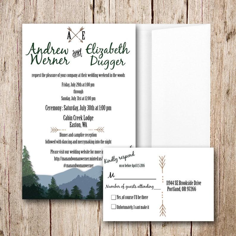 Custom Woodsy Wedding Invitation and RSVP, Forest Wedding Invitation,  Camping wedding, country wedding, Rustic Wedding, Wedding Shower