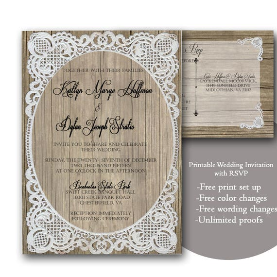 Rustic Wood And Lace Wedding Invitation Template Download Digital Printable Change Colors Wording Unlimited Changes