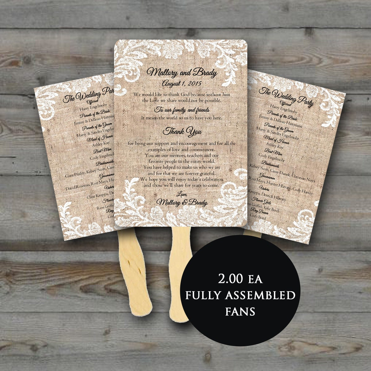 Wedding Program Fan, Rustic Wedding fan, Wedding fans, Wedding Fan Program,  wedding programs, wedding program, Fully assembled