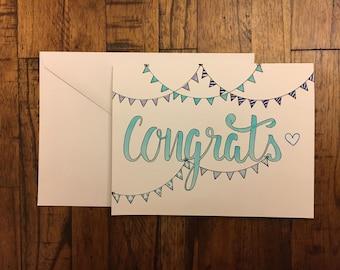 Congratulations Card for Anyone, Congrats Card, Congrats on Baby Card, Graduation Card, Wedding Congrats, New House Congrats