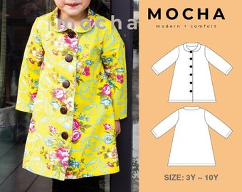 Claire A-Line Long Coat (3Y-10Y) PDF Sewing Pattern