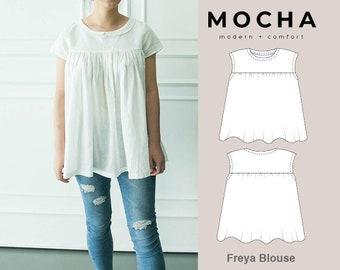 MOCHA Freya Blouse PDF Sewing Pattern - Large Paper Printshop File Included