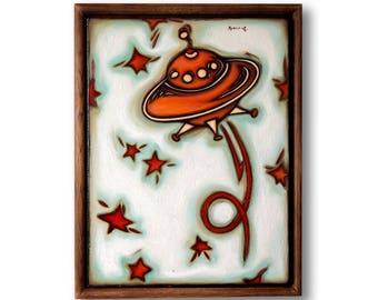 Space painting original , Space theme , Spaceship , nursery decor , nursery art original , play room art , space artwork , Stetsenko