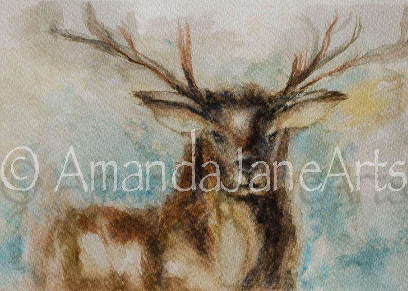 90d4b2d58 Stag deer original painting picture watercolourprint | Etsy