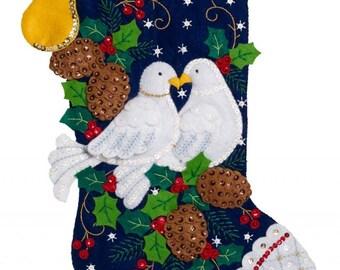 Finished Bucilla Turtle Doves Christmas stockingPre-order 2018