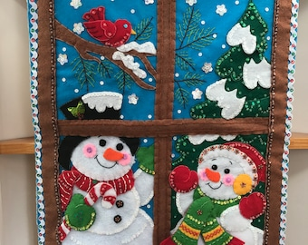 Finished Bucilla Winter Window Wall Hanging DecorationPre-order 2018