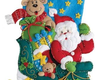 Finished Bucilla Santa's Helper Christmas stocking Pre-order 2018