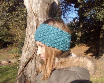 Chunky Hand Knitted Merino Wool, Textured Ear Warmer Headband