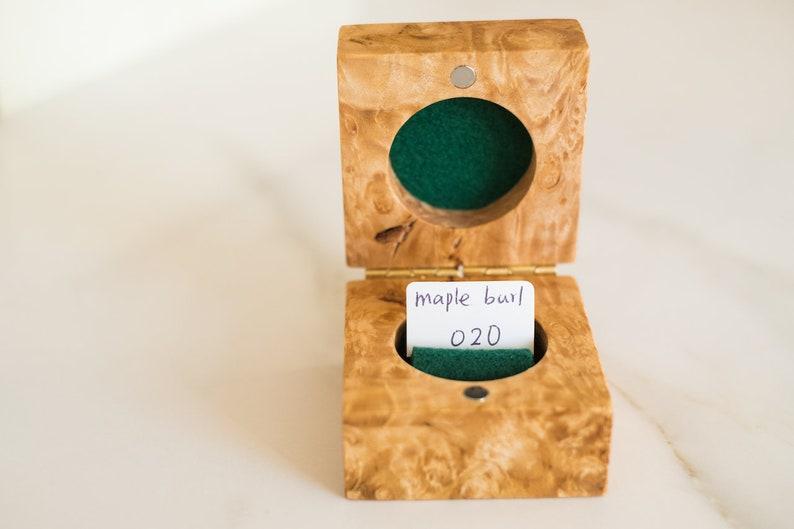 Rustic Ring Box Handmade unique wooden ring box Engagement Ring Box Wedding Ring Box Maple Burl Wood Ring Box