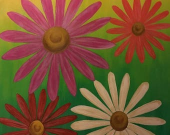 Modern Art Painting, Handmade Acrylic on Canvas, ready to hang 16x20 Daisies