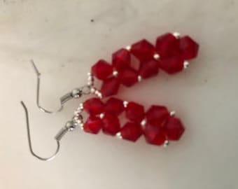 Rock Candy Pendant Earrings in Red