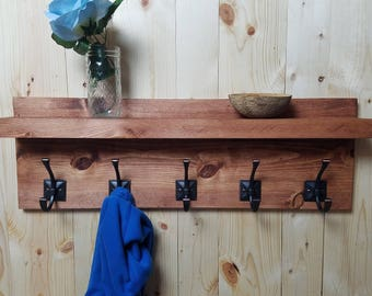 Rustic Coat Rack with Floating Shelf, Modern Coat Rack, Towel Rack