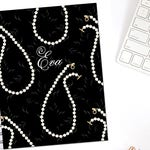 Pearl Necklace Monogrammed Personalized Erin Condren Life Planner Recollections A5 Personal Pocket Dashboard Happy Planner B6