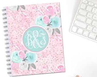 Pastel Fashion Florals Monogrammed Personalized Erin Condren Life Planner Recollections A5 Personal Pocket Dashboard B6