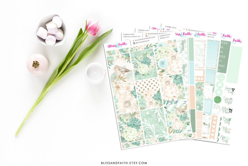 Garden Mint Green Floral Flowers Weekly Kit Planner Stickers For Erin Condren Life Planner Recollections B6 Personal Happy Planner
