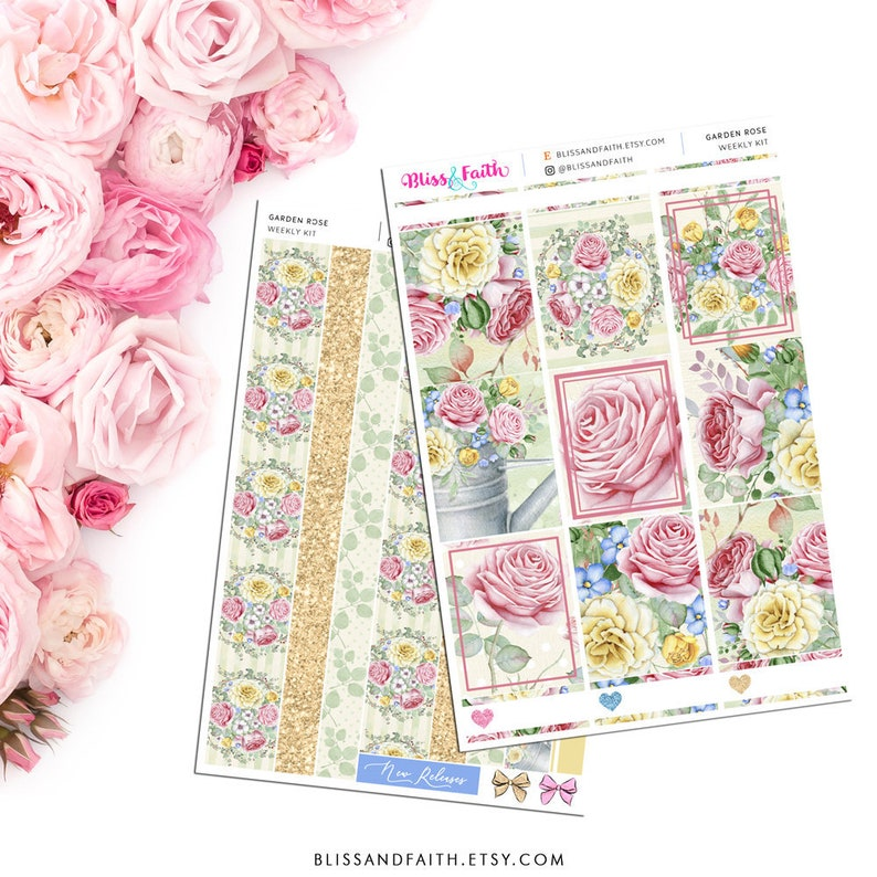 Garden Rose Floral Weekly Kit Planner Stickers For Erin Condren Life Planner Recollections B6 A5 Personal Happy Planner