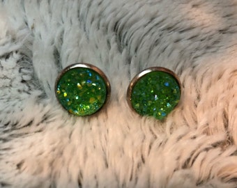 Galaxy faux druzy earrings silver settings