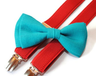 turquoise green bow tie & red suspenders infant suspenders baby suspenders kids suspenders wedding outfit ring bearers linen bow tie set boy