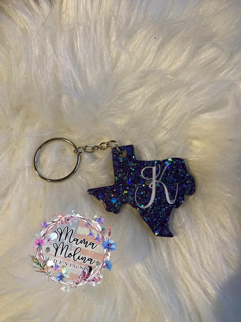 Glitter Texas Keychain
