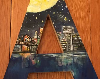 Customizable Hand-Painted Wooden Letter