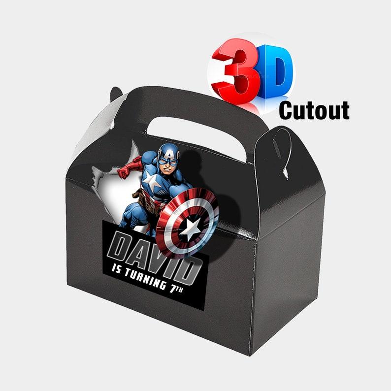 Captain America Favor Box  Captain America Favor Bag  Captain America Party  Personalized Box  Captain America Favors