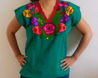 S-M  Mexican Blouse/ mexican top/mexican embroidered/floral blouse/ embroidery blouse/peasant blouse