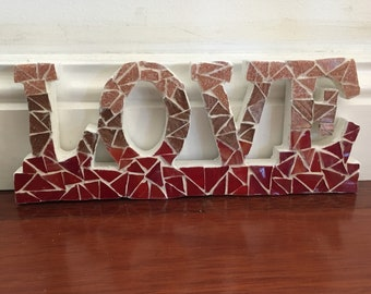 LOVE red mosaic tile sign