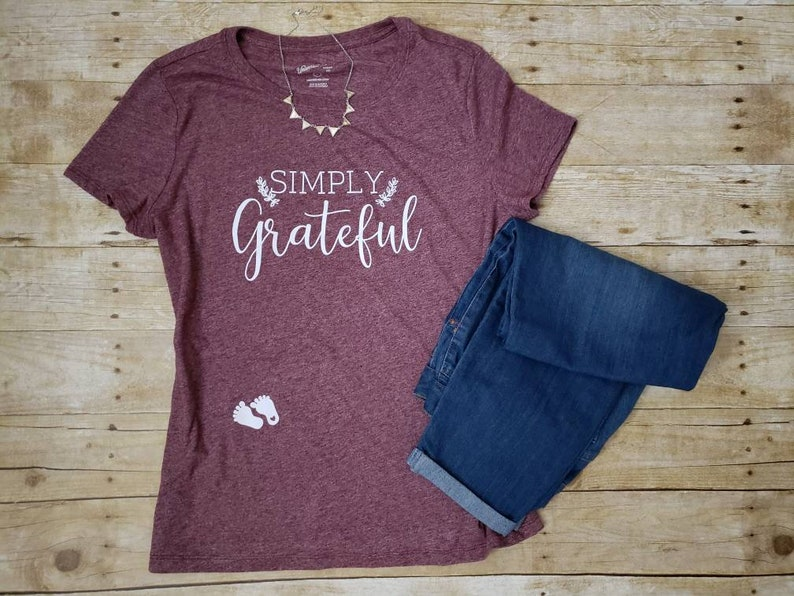 db1837cedf28 Baby Bump Christmas Shirt Simply Grateful Holiday shirt